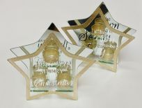 Set of 2 Large Gold Glitter Star Tea-Light Holders